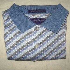 Alan Flusser Geo Print Golf Polo Shirt L